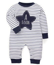 Wonderchild Fullsleeves Romper With Star Patch - White & Navy
