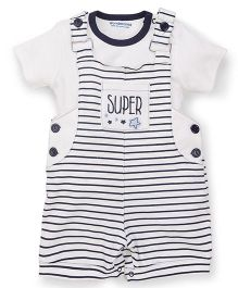 Wonderchild Dungaree Style Romper With T-Shirt Super Embroidery - White Blue