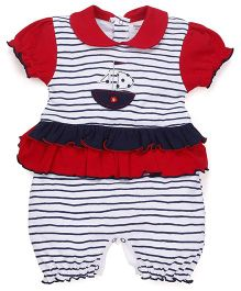 Wonderchild Cotton Frilly Shortall - Red & Navy