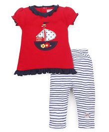 Wonderchild Top And Legging Set Set - Red & White