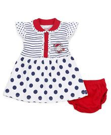 Wonderchild Cap Sleeves Frock With Bloomer Polka Dot Print - Red & Navy Blue
