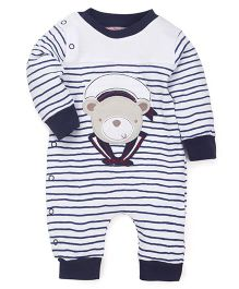Wonderchild Cotton Full Sleeves Snap-up Romper - White & Navy Blue