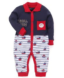 Wonderchild Cotton Full Sleeves Collar Snap-up Romper - Navy & Red