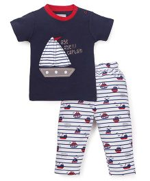 Wonderchild T-Shirt And Legging Nautica Set - Navy & White