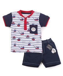 Wonderchild T-Shirt And Shorts Nautica Set - Navy & White