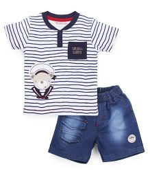 Wonderchild T-Shirt And Shorts Set Stripe Set - White & Navy