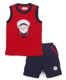 Wonderchild Sleeveless T-Shirt And Shorts Set - Red & Navy