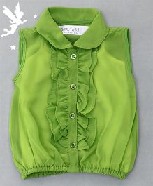Soul Fairy Ruffle Collar Neck Top & Inner Spaghetti - Green