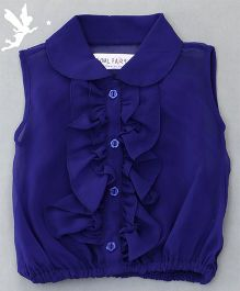 Soul Fairy Ruffle Collar Neck Top & Inner Spaghetti - Royal Blue