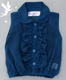 Soul Fairy Ruffle Collar Neck Top & Inner Spaghetti - Blue