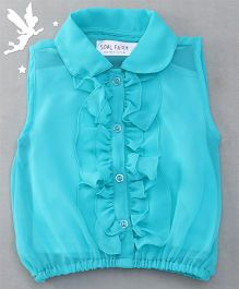 Soul Fairy Ruffle Collar Neck Top & Inner Spaghetti - Aqua Blue