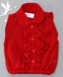 Soul Fairy Ruffle Collar Neck Top & Inner Spaghetti - Red