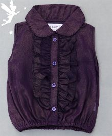 Soul Fairy Shimmer Ruffle Top With Inner Spaghetti - Purple
