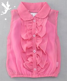 Soul Fairy Ruffle Collar Neck Top & Inner Spaghetti - Pink