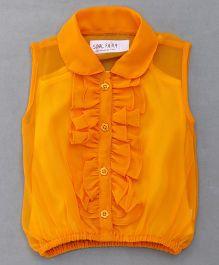 Soul Fairy Ruffle Collar Neck Top & Inner Spaghetti - Orange