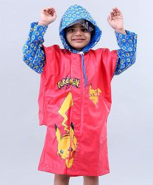 Babyhug Full Sleeves Hooded Raincoats Pokemon Pikachu - Red & Blue