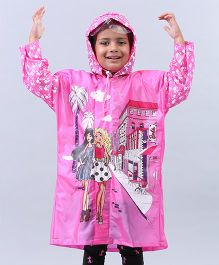Babyhug Raincoat Barbie Print - Pink