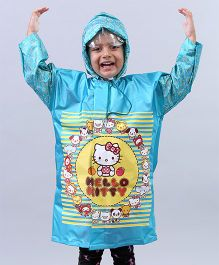 Babyhug Raincoats Hello Kitty Print - Aqua Blue
