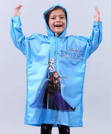 Babyhug Full Sleeves Raincoat Frozen Print - Sky Blue