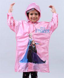 Babyhug Full Sleeves Raincoat Frozen Print - Light Pink