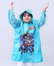 Babyhug Full Sleeves Hooded Raincoat Avengers - Sky Blue