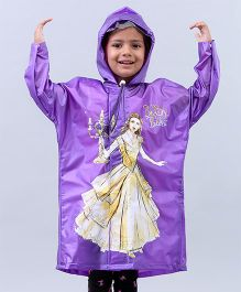 Babyhug Full Sleeves Hooded Raincoat Beauty & The Beast - Purple