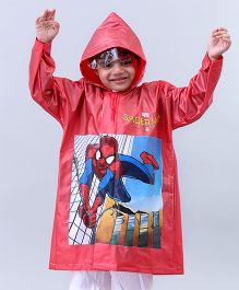 Babyhug Raincoat Spiderman Print - Red