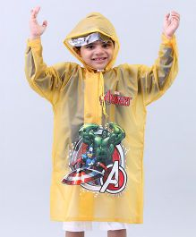Babyhug Raincoat Avengers Print - Yellow