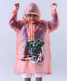 Babyhug Raincoat Avenger Print - Peach