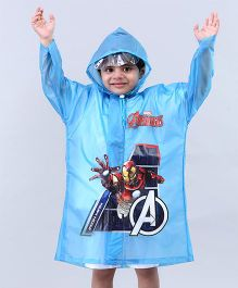 Babyhug Raincoat Iron Man Print - Sky Blue