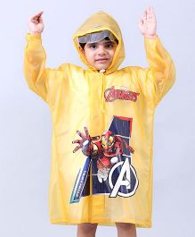 Babyhug Raincoats Iron Man Print - Yellow