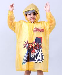 Babyhug Raincoat Iron Man Print - Yellow