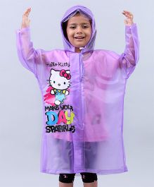 Babyhug Raincoat Hello Kitty Print - Purple