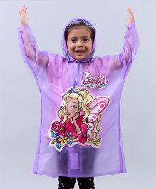 Babyhug Full Sleeves Raincoat Barbie Print - Purple