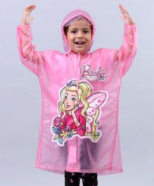 Babyhug Full Sleeves Raincoat Barbie Print - Pink