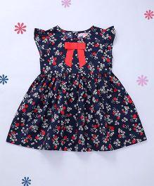 CrayonFlakes Elegant Flowers Short Sleeves Woven Dress - Navy Blue