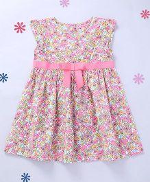 CrayonFlakes Elegant Flowers Short Sleeves Woven Dress - Pink