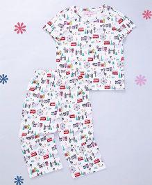 CrayonFlakes London Eye Short Sleeve Knit Nightsuit - Multicolour