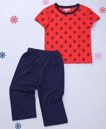 CrayonFlakes Short Sleeve Knit Nightsuit - Red & Navy Blue