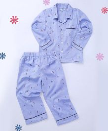 CrayonFlakes Skiing Guy Woven Nightsuit - Blue