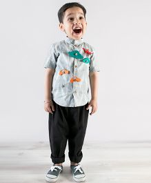 Tiber Taber Felt Toys Applique Shirt - Grey