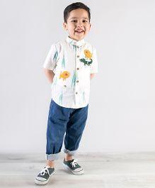 Tiber Taber Crocodile Felt Toys Applique Shirt - White