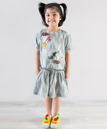 Tiber Taber Detachable Felt Toys Applique Dress - Grey