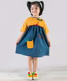 Tiber Taber Detachable Felt Toys Applique A Line Dress - Mustard & Teal