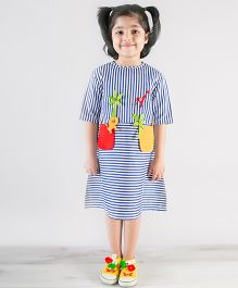 Tiber Taber Bold Striped Felt Toys Applique Dress - Blue