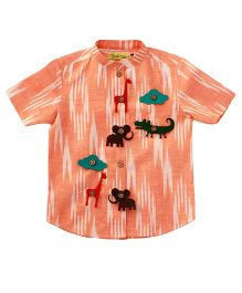 Tiber Taber Handloom Ikat Felt Toys Applique Shirt - Orange