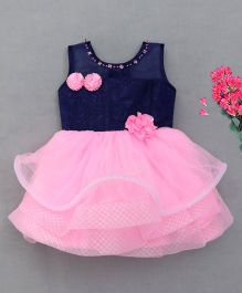 M'Princess Elegant Design Party Dress - Blue & Pink