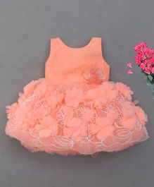 M'Princess Flower Design Party Dress - Peach