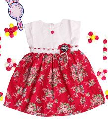Bunchi Floral Cotton Dress - White & Red