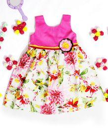 Bunchi Flower Applique On Yoke Floral Dress - Pink